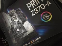 Placa-mãe Prime Z370-A Intel LGA 1151 ATX com Dissipador M.2, DDR4 4000MHz