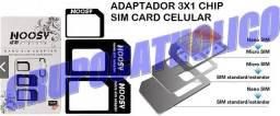 Adaptador Chip Celular SIM Card, Nano SIM, Micro SIM, Standard (Temos modem e roteador 3G)