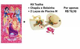 Kit Praia:toalha + Chapéu + Bolsinha + Dois Laços De Piscina