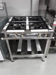 Fogão 4 Bocas Alta Pressão Linha Stand em Inox 430 - Metal Brey