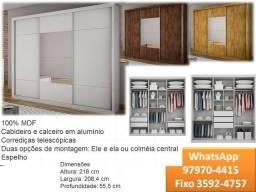 Guarda roupa 3 portas/3 gavetas 100% mdf com espelho na porta central Arezzo-6185
