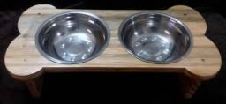 Comedouro / Bebedouro artesanal de madeira para pets