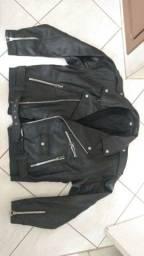 Jaqueta couro legítimo estilo militar