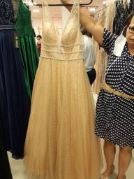 Vestido de festa dourado seminovo