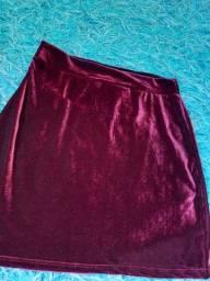 saia veludo crystal bordo vermelha curta