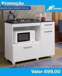 balcão branco para cooktop com portas e gaveta direto da fabrica