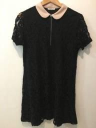 blusa preta de renda zara w e b collection original