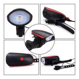Lanterna para bicicleta com buzina recarregável usb