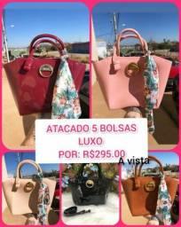 Título do anúncio: ATACADO 5 BOLSAS LUXO COM LENÇO