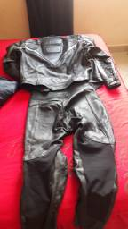 Jaqueta e calça de couro motociclismo
