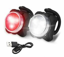 Luz De Bicicleta Recarregável USB Dianteiro ou Traseiro