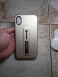 Capa para iPhone xr dourada com suporte