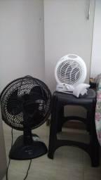 Aquecedor, ventilador, repetidor de internet e banquinho/suporte