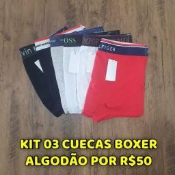 Kit 03 Cuecas Boxer Algodão