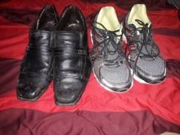 vendo sapato social de couro usado e um tênis ambos 40 41 quem usa 42 tbm da