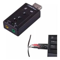 Adaptador Placa De Som USB 7.1 Canais 3d