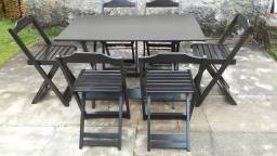 mesa dobrável com 6 cadeiras