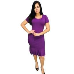 Vestido Malha Canelada Liso Kit Com 10 Peças