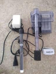 Acessórios para Aquário de Peixes Skymmer, termostatos Autom./ Comp. Ar, limpador magn.