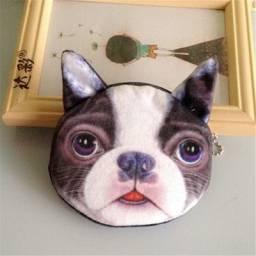 Bolsinha de pelucia pequena carteira mini bolsa porta moedas 3d cachorro gato
