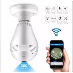 Lâmpada Câmera IP Wi-FI Panorâmica 360 graus Espiã Segurança LED Hd V380 Vr Cam