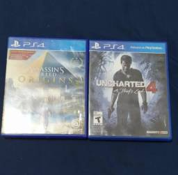 Título do anúncio: Uncharted 4 + Assassins Creed Origins Ps4