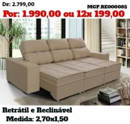 Liquida em MS- Sofa Retratil e Reclinavel 3 Lugares 2,70m-Sofa em Veludo e MOlas
