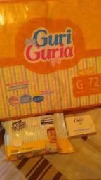 Fralda G, lenço umedecido e sabonete