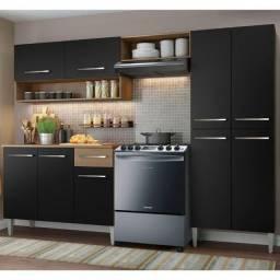 Cozinha Compacta Madesa Emilly Pop Com Armário e Balcão Rustic/Preto