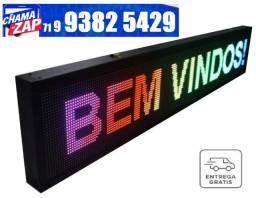 Painel De LED Colorido Letreiro Digital 1.30cm x 20cm RGB Alto Brilho Externo 110v