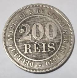 Moeda antiga de 200 Réis de 1888