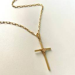 Corrente Cartier Bruta 18k Moeda Antiga (3mm) Crucifixo Fino