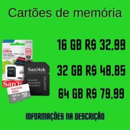 Cartão de memória 16GB 32GB 64GB Sandisk Classe 10