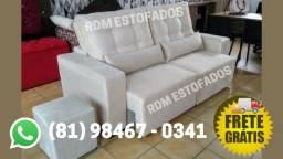 Título do anúncio: sofá retrátil (2 metros) - ganhe o puff - frete grátis + garantia
