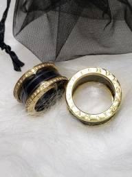 Alianças/ anel Bvlgari cerâmica preta com dourado 12mm