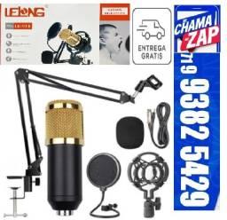 Kit Microfone Condensador Estudio Braço Articulado Pop Filter P2 T10