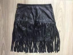 Saia Franjas Corino Preta Fashion Tamanho 40