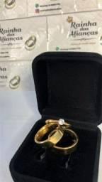 Alianças de casamento/noivado com peços promocionais *aço inox dourada*