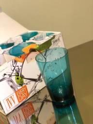 Título do anúncio: Copos vidro azul turquesa