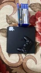Título do anúncio: Vendo ou troco Ps4 SLIM 500GB + HD externo de 1tera e alguns jogos