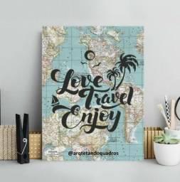 Placa decorativa em MDF - I Love travel enjoy - novo