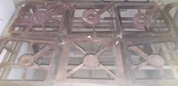 Fogão  industrial base em inox  6 bocas
