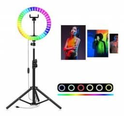 Ring Light RGB Colorida 26 Cm (10 Polegadas) + Tripé 2.10M<br>