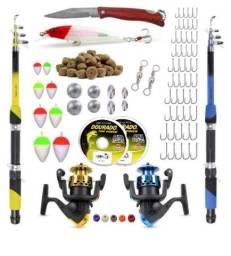 Kit De Pesca Completo 2 Varas Telescópicas 2 Molinetes + Acessórios