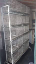 Conjunto de gaiolas criadouro com 10 apartamentos