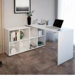 Mesa Para Trabalhar Estudar Em L Com 8 Nichos Espaçoso Luxo