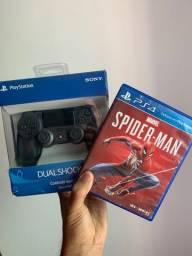 Controle PS4 + jogo do Homem Aranha