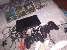 Título do anúncio: Playstation 2 original da Sony desbloqueado para qualquer jogo acompanha as duas manete