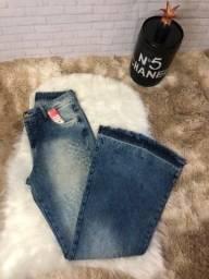 Calça flare jeans feminina nova com etiqueta