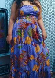 Vestido longo florido lilás